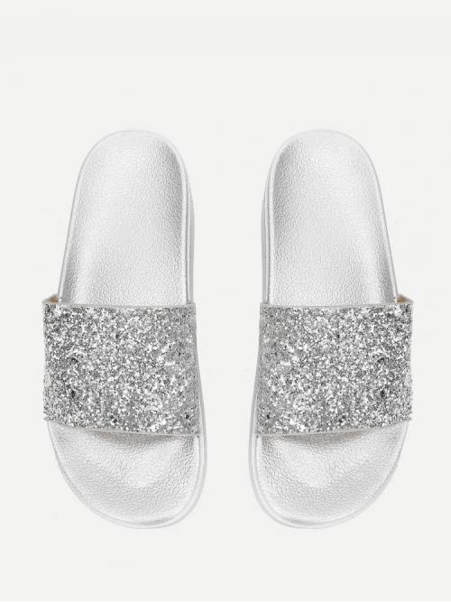 Shopping Corduroy Silver Novelty Slippers Hollow Glitter Design Flatform Sandals