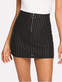 Shopping Black and White Natural Waist Ring Bodycon Zip up Front