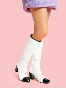 Other Round Toe Plaid Side zipper White High Heel Chunky Quilted Cap Toe Heeled Boots