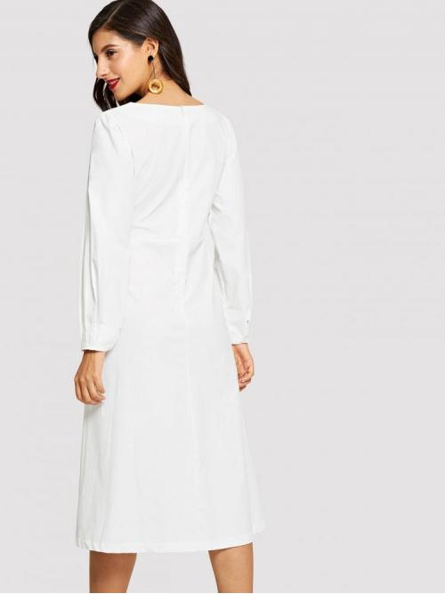 White Plain Zipper Round Neck Self Tie Waist Dress Cheap