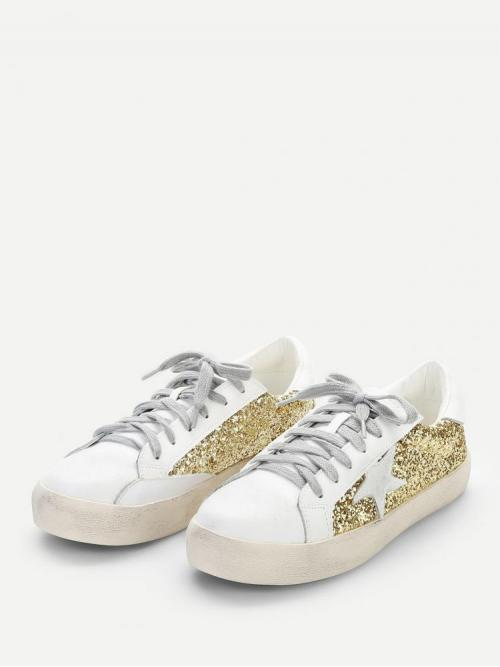 Affordable Corduroy Multicolor Skate Shoes Hollow Star Detail Glitter Sneakers