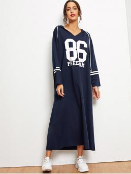 Sporty Dress Striped and Letter Hooded Long Sleeve Navy Varsity Striped Hooded Maxi Sweatshirt Dress