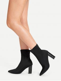 Glamorous Plain Black High Heel Chunky Point Toe Chunky Heeled Boots