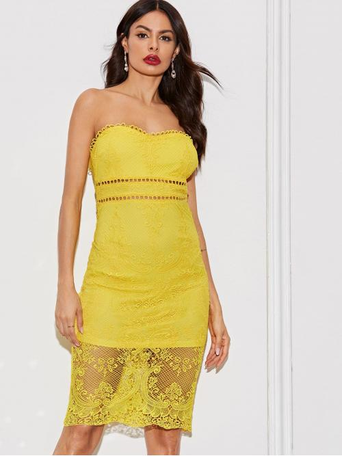 Sexy Bodycon Plain Slim Fit Strapless Sleeveless High Waist Yellow and Bright Midi Length Solid Cut-out Zip Back Lace Bodycon Tube Dress with Lining