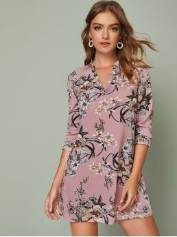 Casual Tunic Floral Straight Loose Notched Long Sleeve Regular Sleeve Natural Pink Short Length V-cut Neck Floral Print Dress