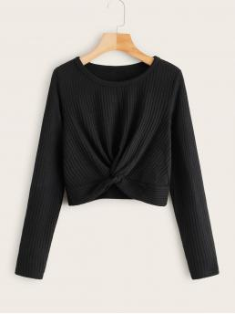 Casual Plain Regular Fit Round Neck Long Sleeve Regular Sleeve Pullovers Black Regular Length Twist Front Rib-knit Tee