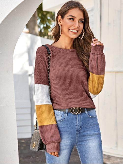 Casual Colorblock Oversized Boat Neck Long Sleeve Regular Sleeve Pullovers Pink Regular Length Color Block Waffle Knit Tee