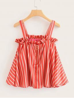Boho Cami Striped Regular Fit Straps Red Regular Length Striped Frill Trim Cami Top
