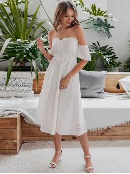 Boho A Line Plain Flared Regular Fit Off the Shoulder Short Sleeve High Waist White Long Length Simplee Off Shoulder Knotted Schiffy Dress with Lining