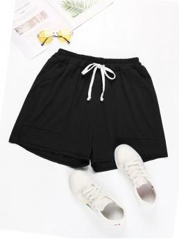 Sporty Track Shorts Plain Regular Drawstring Waist High Waist Black Slant Pocket Drawstring Waist Track Shorts