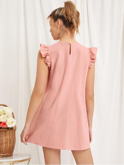 Coral Pink Plain Button Round Neck Ruffle Armhole Fold Pleated Solid Dress on Sale