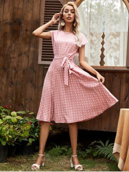 Baby Pink Polka Dot Belted Round Neck Dress Beautiful