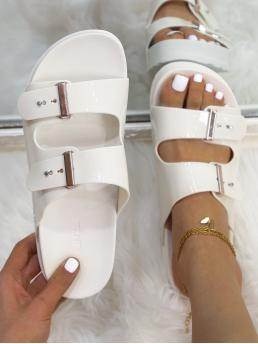 White Footbedsandals Flat Open Toe Minimalist Footbed Sandals Affordable