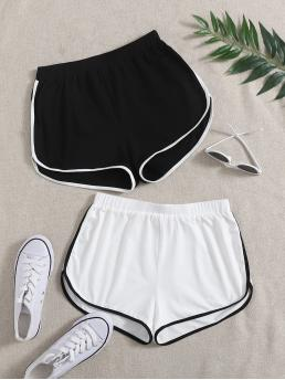 White High Waist Contrast Binding Track Shorts 2 Pack Dolphin Shorts Pretty