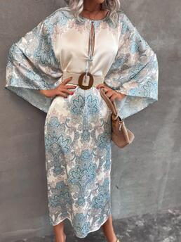 Blue Tribal Tie Neck Long Graphic Print Knot Front Dress Without Belt Trending now