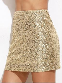 Womens Gold Natural Waist Pocket a Line Embroidered Sequin