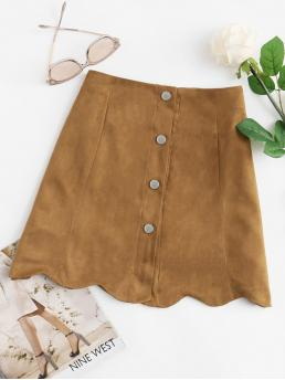 Camel Natural Waist Button a Line Hem Single Breasted Suede Skirt Sale