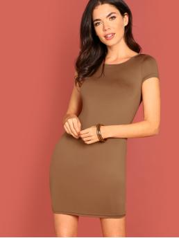 Cheap Camel Plain Asymmetrical Round Neck Solid Bodycon Dress