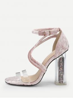 Ankle Strap Open Toe Ankle Strap Pink High Heel Chunky Clear Band Ankle Strap Chunky Heels