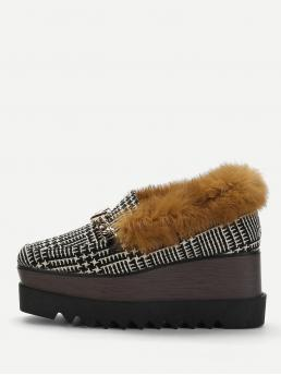 Other Almond Toe Lace Up Black Contrast Faux Fur Tweed Wedges