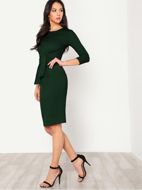 Elegant Fitted Plain Regular Fit Round Neck Three Quarter Length Sleeve Natural Green Midi Length Button Keyhole Back Self Tie Pencil Dress with Belt