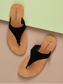 Casual Toe Post Black Perforated Thong Footbed Sandals