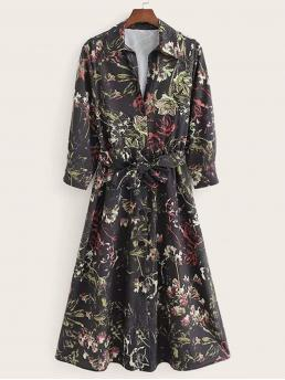 Casual Shirt Floral Flared Collar Long Sleeve Natural Black Long Length Self Tie Floral Print Shirt Dress with Belt