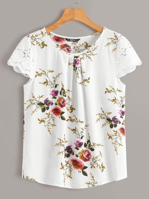 Cheap Cap Sleeve Top Pleated Floral Lace Short Sleeve Crinkle Top