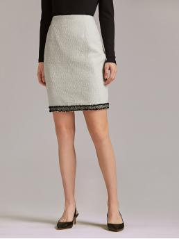 Elegant Pencil High Waist Beige Above Knee/Short Length Premium Contrast Tape Split Hem Tweed Skirt