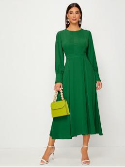 Elegant Fit and Flare Plain Flared Regular Fit Round Neck Long Sleeve Bishop Sleeve High Waist Green and Bright Long Length Solid Pleated Detail Ruffle Cuff Dress