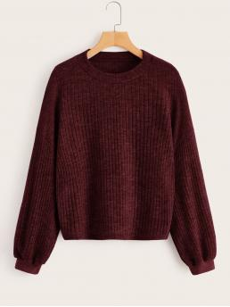 Casual Plain Pullovers Regular Fit Round Neck Long Sleeve Regular Sleeve Pullovers Burgundy Regular Length Solid Drop Shoulder Round Neck Sweater