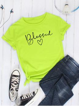 Casual Letter and Heart Regular Fit Round Neck Short Sleeve Regular Sleeve Pullovers Green and Bright Regular Length Heart & Letter Graphic Tee
