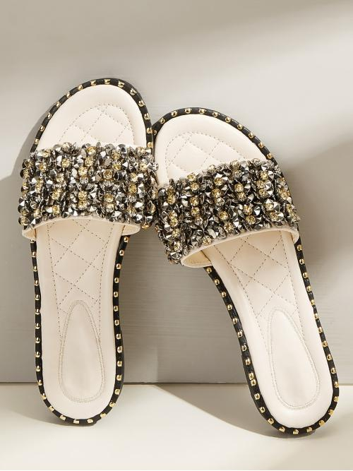 Glamorous Multicolor Open Toe Wide Fit Sliders