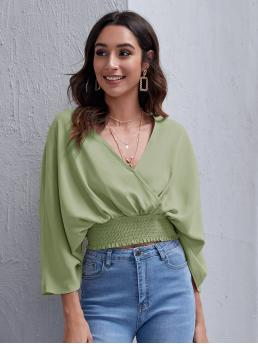 Three Quarter Length Sleeve Top Shirred Polyester Surplice Neck Dolman Sleeve Wide Waistband Top on Sale
