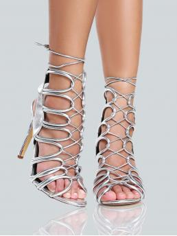 Glamorous Peep Toe No zipper Strappy Silver High Heel Stiletto Braided Tie Up Lace Strappy Heels SILVER