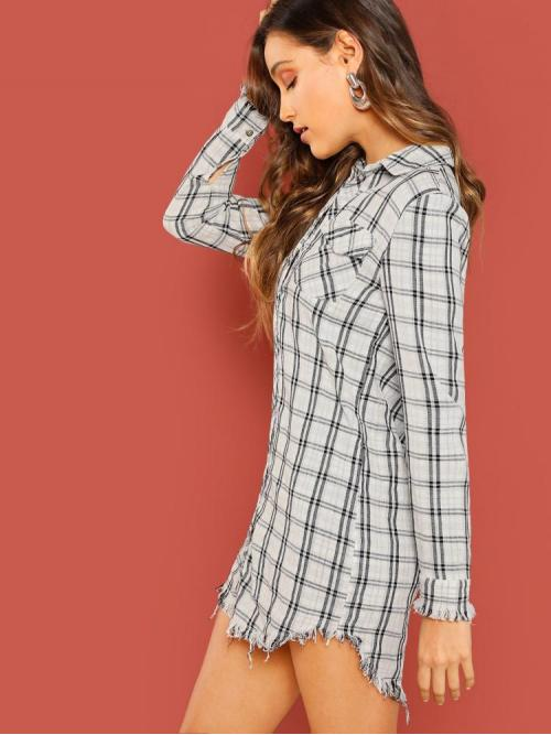 Womens Black and White Plaid Pocket Collar Patched Frayed Curved Hem Dress