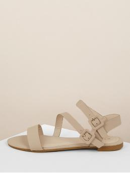 Comfort Ankle Strap Nude Twin Buckles Open Toe Gladiator Flat Sandals