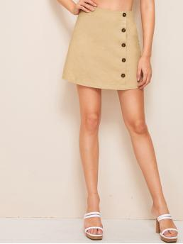 Casual A Line Plain High Waist Beige Above Knee/Short Length Solid Single Breasted Skirt