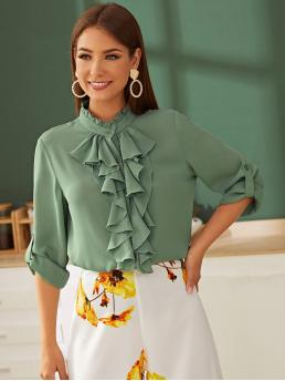 Vintage Plain Shirt Regular Fit Stand Collar Long Sleeve Regular Sleeve Placket Green Regular Length Frilled Neckline Ruffle Trim Roll Tab Sleeve Top