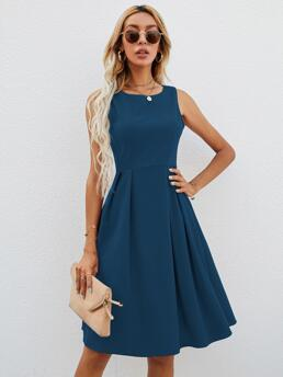 Ladies Navy Blue Plain Zipper Round Neck Solid Fit & Flare Dress Without Bag