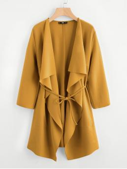 Long Sleeve other Draped Chiffon Collar Pocket Front Wrap Coat on Sale
