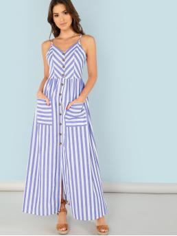 Boho Cami Striped Regular Fit Spaghetti Strap Sleeveless High Waist Blue Maxi Length Button Up Pocket Front Striped Cami Dress