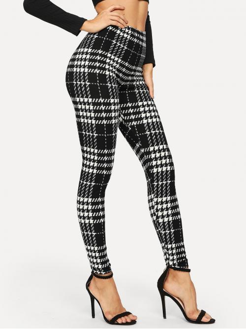 Beautiful Black and White Regular Houndstooth Long High-rise Plaid Skinny Leggings