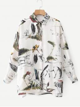 Casual Animal and Plants Shirt Regular Fit Collar Long Sleeve Placket White Regular Length Ink Painting Print Blouse
