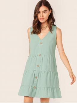 Boho Tunic Plain Straight Loose V neck Sleeveless Natural Green Short Length Solid Buttoned Front Smock Dress