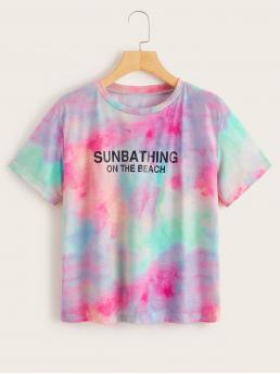 Casual Letter and Tie Dye Regular Fit Round Neck Short Sleeve Pullovers Multicolor Regular Length Tie Dye Letter Print Tee
