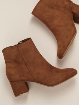 Business Casual Other Side zipper Brown Mid Heel Chunky Almond Toe Block Heel Ankle Boots