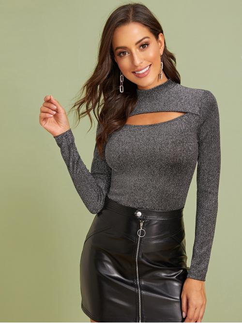 Glamorous and Sexy Plain Slim Fit Stand Collar Long Sleeve Regular Sleeve Pullovers Grey Regular Length Mock-neck Cutout Front Glitter Top