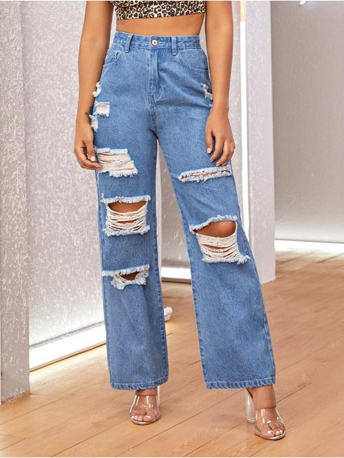 Casual Plain Wide Leg Loose Button Fly and Zipper Fly High Waist Blue Long Length Wide Leg Destroyed Jeans
