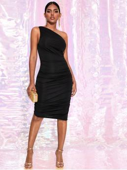 Glamorous Bodycon Plain Pencil Slim Fit One Shoulder Sleeveless Natural Black Mini Length One Shoulder Ruched Bodycon Dress